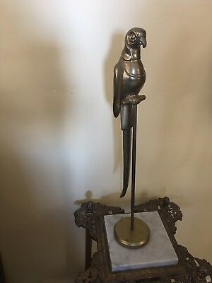 VINTAGE BRASS PARROT ON PERCH STAND BIRD  MID Hollywood Regency Style