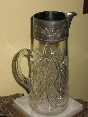 Antique Large Heavy Victorian Pressed Glass &  Silver Plate Pitcher