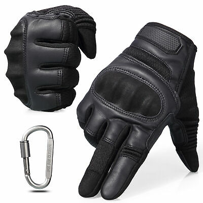Leather Assault Full Finger Tactical Gloves Hunting Airsoft Shooting Combat Mens