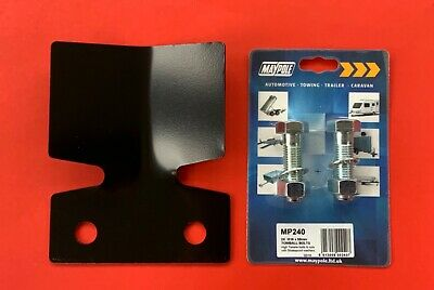 Tow Bar/Hitch Flange Bumper Protector Plate in Black MP464 & 2 x M16x55mm Bolts