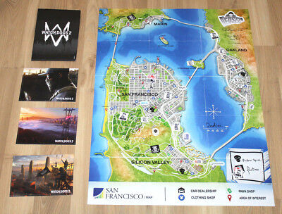 Watch Dogs 2 Map / Poster of San Francisco + Art Cards PS4 Xbox One