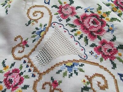 """Beautiful Vintage Hand Embroidered & Lace Fillets Tablecloth-UNUSED 67""""x64"""""""