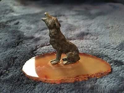 Pewter Coyote Figurine Mounted On Geode Base