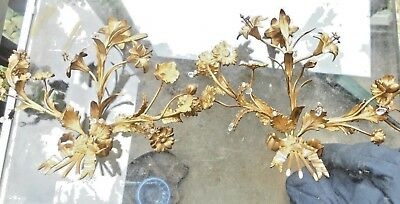Pair Of French  Sconces Xvi Dore Bronze Lilies Flowers Ribbon Antique Gold Gilt