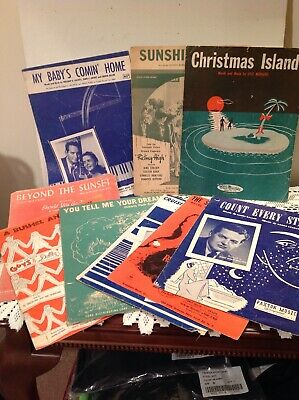 Vtg 1940s 1950s Sheet Music Lot of 9 Mixed Condition Show Tunes Inspirational