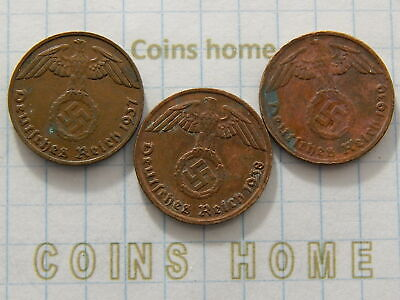 Coins Home Lot 3 Circulated 1937-1939 GGG nazi Germany 1 RPfng Set#TR99 Ungraded
