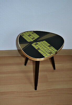 Vintage 50s 60s German Wood Glass Brass Tripod Coffee Table Plantstand Modern