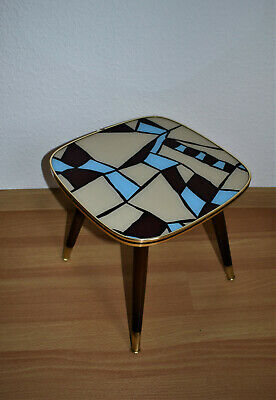 Vintage 50s 60s West German Wood Glass Top Brass Coffee Table Plantstand Modern