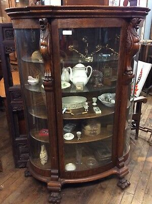 """Antique Carved Oak China Cabinet, Curved Glass 66.25"""" H"""