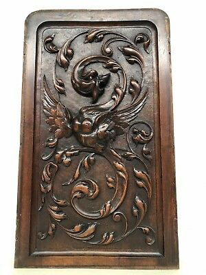 Stunning Antique French Walnut Panel with Dragon/Gargoyle/Griffin