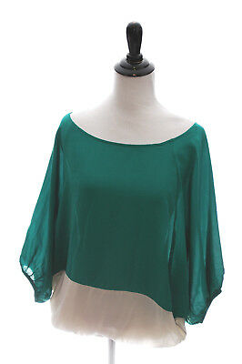 04b690a9b1b713 Sunday In Brooklyn Blouse Green Silk Colorblock Top Shirt Small S  Anthropologie