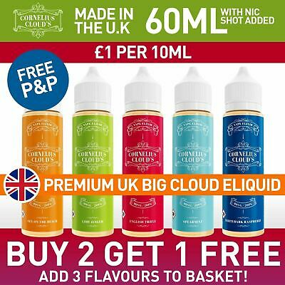 60ml Cornelius Cloud E Liquid | Quality High VG Juice | Shake & Vape 0mg, 3 & 6