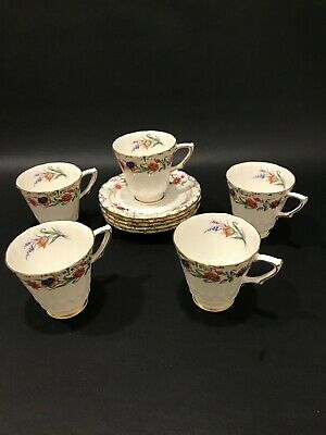 Five Beautiful Royal Crown Derby Chatsworth Demitasse Cup And Saucrs