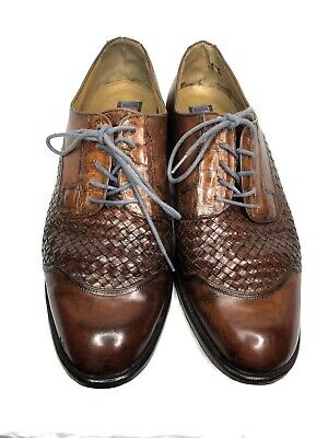 Vintage Caporicci Brown Cap Toe Woven Leather Oxford Alligator Eyelet Trim 10.5