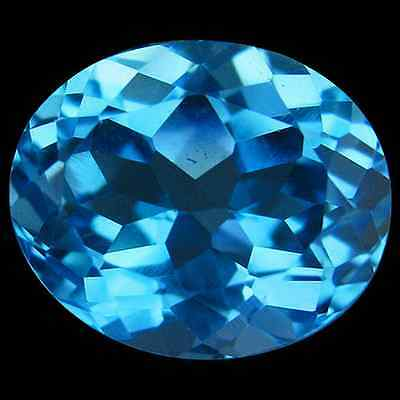 6.44 cts Natural Oval-cut Sparkling Swiss Blue VVS Topaz