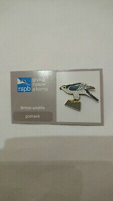 """RSPB Pin Badge Goshawk On Current Card """"Give Nature A Home"""""""