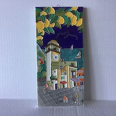 Vintage Italian Capri Hand Painted Decorative Art Wall Tile Made In Italy