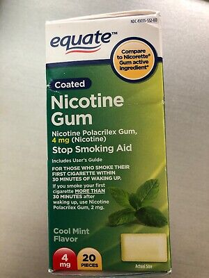 New Equate Nicotine Mint Flavor Coated Gum 4mg 20 ct