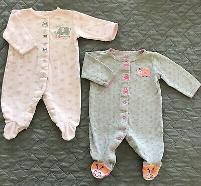 2d267ef5b Lot 2 Carters 3 Month Baby Girl Soft Sleeper Footed Pink Elephant Gray Bug  GUC