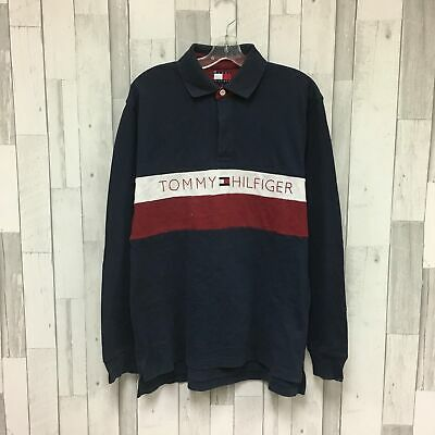 5aa5f1830 Vintage Tommy Hilfiger Spell Out Rugby Shirt Size Medium Navy Red White