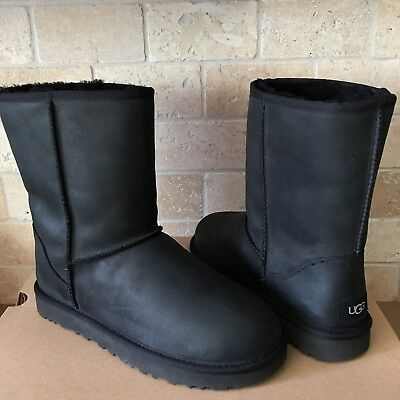 ed5ec6ca3873 UGG Classic Short Black Water-resistant Leather Sheepskin Boots Size US 7  Womens