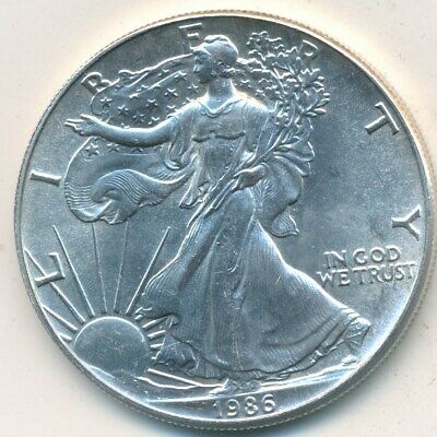 1986 American Silver Eagle-First Year Minted! One Ounce Silver-Ships Free! Inv:5
