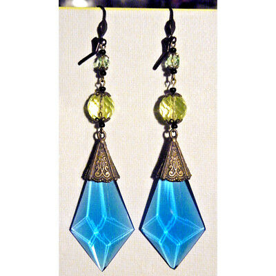 Antique Victorian Edwardian Vintage Art Deco Czech Blue Earrings Gift Stamped