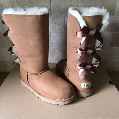 1a3353eb3b6 UGG CHESTNUT TRIPLE Bailey Bow Tall Boots Size 4 Youth,Fit Women's 6 ...