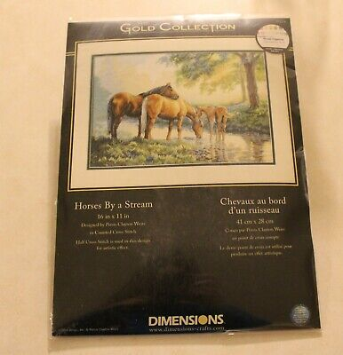 Dimensions Gold Collection - Horses By A Stream - Cross Stitch Kit 35174