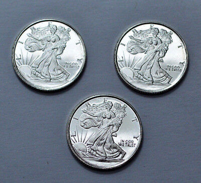 Set of 3  x  1/10 oz Walking Liberty Rounds .999 Fine Silver Golden State Mint !