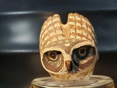 Small Pottery Owl Artist Initialed Mexican ? Signed E.L. with a Hand in a hat?