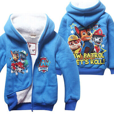 Paw Patrol boys  winterwarm jacket coat hoodie jackets double layer size 3 - 8