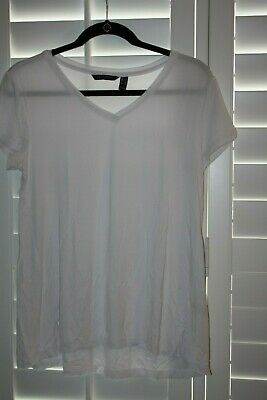 H by Halston Essentials V-Neck Top with Forward Notch Detail//WHITE//SMALL //NWT