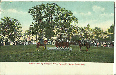 "Postcard - Display - Monkey Drill by Troopers, ""The Pyramid"", US Army - 1908"