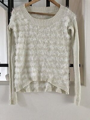 White/gold Guess knit jumper size S