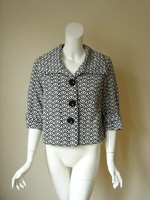 Saks Fifth Avenue Geometric Prints Collar Cropped Jacket Blazer 4