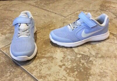 2ed139922fae New  52 Nike Revolution Girl Size 2.5 Tennis Shoes Pale Blue Silver Sneakers