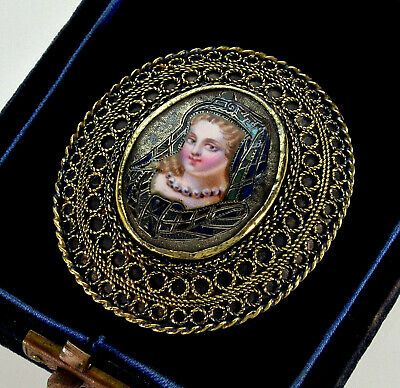Victorian French Champleve Enamel Portrait Filigree Gold Over Silver Brooch Pin