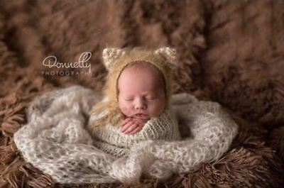 Angora Kitty Bonnet  Striped Ears Newborn Photo Props Knitted Baby Hat 0-3 Month