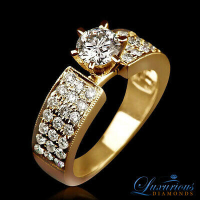 Round Cut Anniversary Diamond Ring 3.05 CT H VVS Solitaire With Accents
