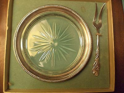 Francis M. Whiting Sterling Silver Glass Coaster Dish And Fork Vintage W/ Box
