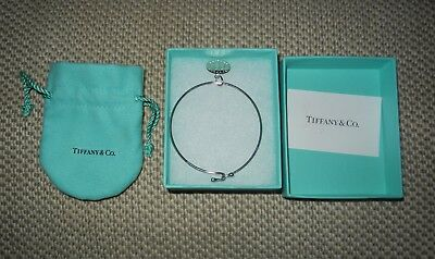 New Tiffany & Co. Sterling Silver Wire Bracelet With Charm + Pouch & Box