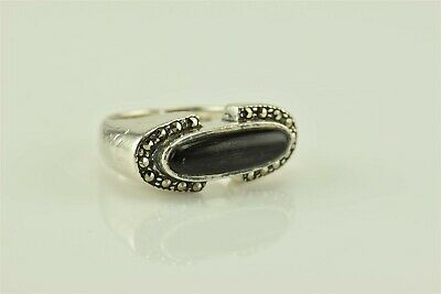 Solid Sterling Silver Bezel Set Black Oval Onyx Marcasite Accents Ring 925 Sz: 5