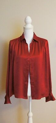 dca1cbbb78756 Auth CHANEL Red Silk Long Sleeve Button Down Blouse Shirt Sz 38