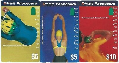 SET x 3 LIMITED EDITION (USED) COMMONWEALTH GAMES  TELSTRA PHONECARDS