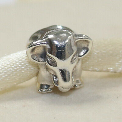 New Authentic Pandora Lucky Elephant  Sterling Silver 791130 W Tag & Suede Pouch