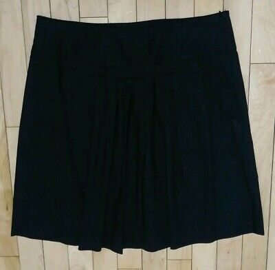 3b25a6657c BANANA REPUBLIC Pleated Front Black Cotton A Line Skirt Pockets Womens Size  8
