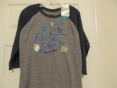 NHL Reebok 2012 Winter Classic Rangers Flyers 3/4 Sleeve Hockey Shirt Womens MD