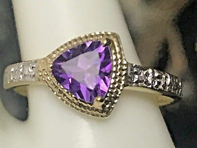 10K Gold 1.0 Ct Trillion Cut Natural Amethyst & Diamond Ring Size 6.75+ Ring Box