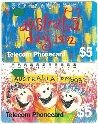 Pair Of First Two Australia Day  Telstra Phonecards;  1 And 2 Holes